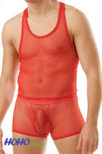 Fishnet Men's See-Thru Muscle Top w/Boxer Bodysuit #406