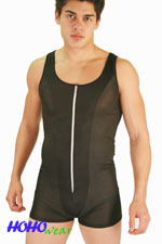 Men's Mesh Zipper Bodysuit Jumpsuit Wrestling Singlet #424