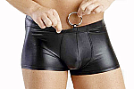 Sexy Erotic Mens Pleather Boxer Shorts w/ Ring Underwear #323